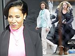 147323, EXCLUSIVE: FIRST ON SET PHOTOS - Jada Pinkett Smith and Christina Applegate spotted for the first time on the set of 'Bad MomÌs' filming in New Orleans. Jada wore a hot pink blouse, a black cardigan, heart shaped necklace, a floral skirt and maroon Uggs. When Jada and Christina arrived to set they embraced in a hug. Also seen on set was Kristen Bell. New Orleans, Louisiana - Wednesday January 27, 2016. Photograph: © PacificCoastNews. Los Angeles Office: +1 310.822.0419 sales@pacificcoastnews.com FEE MUST BE AGREED PRIOR TO USAGE