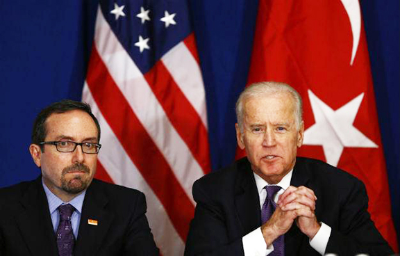 US Ambassador to Turkey John Bass and Vice President Joe Biden. (Source: AFP)
