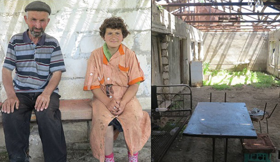 "Vladimir Ghulyan and his daughter Zana. They live in the ""house"" shown to the right and they also live next to Govshatly minefield"