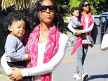 28.January.2016 - Beverly Hills ñ USA\n*** STRICTLY AVAILABLE FOR UK AND GERMANY USE ONLY ***\nBeverly Hills, CA - Kelly Rowland takes her son Titan to music class on a sunny LA day. The singer decided to rep mostly Chanel including a red and pink scarf and grey purse.\nBYLINE MUST READ : AKM-GSI-XPOSURE\n***UK CLIENTS - PICTURES CONTAINING CHILDREN PLEASE PIXELATE FACE PRIOR TO PUBLICATION ***\n*UK CLIENTS MUST CALL PRIOR TO TV OR ONLINE USAGE PLEASE TELEPHONE 0208 344 2007*