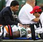 EAST RUTHERFORD, NJ - SEPTEMBER 13: Lorenzo Mauldin #55 of the New York Jets is carted off the field on a stretcher during the fourth quarter against the Cleveland Browns at MetLife Stadium on September 13, 2015 in East Rutherford, New Jersey. The Jets won 31-10. (Photo by Rich Schultz /Getty Images)