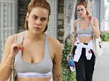 Tallulah Willis leaves the gym wearing a sports bra showing off a plethora of tattoos and sporting wicked neon orange nails in Los Angeles, CA. Wednesday, January 27, 2016. X17online.com