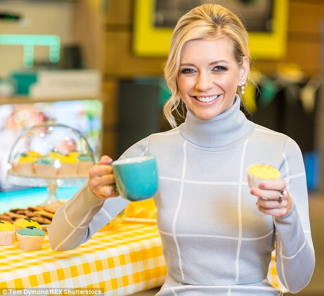 Sweet times:In one photo the presenter held a turquoise mug and yellow iced cupcake, as she beamed with glee during the shoot