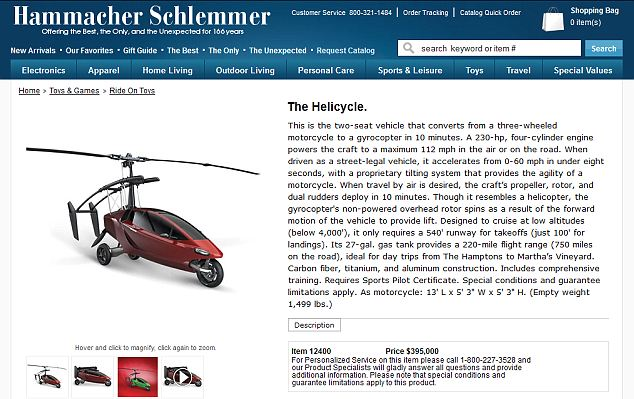 Luxury gadgets site Hammacher Schlemmer is marketing the Helicycle for 'just' $395,000 - a bargain...