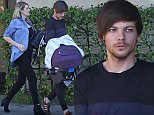 EXCLUSIVE. COLEMAN-RAYNER. Los Angeles, CA. USA. January 25, 2016.  Louis Tomlinson looks to be on full-time daddy duty as he and Briana Jungwirth take their newborn son to his first doctors appointment in Los Angeles.  CREDIT LINE MUST READ: Coleman-Rayner. Tel US (001) 310-474-4343- office Tel US (001) 323-545-7584 - Mobile www.coleman-rayner.com