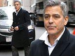 "New York, NY - George Clooney films re-shoots for ""Money Monster"" in lower Manhattan and looks dapper in his peacoat. \nAKM-GSI     January 30, 2016\nTo License These Photos, Please Contact :\nSteve Ginsburg\n(310) 505-8447\n(323) 423-9397\nsteve@akmgsi.com\nsales@akmgsi.com\nor\nMaria Buda\n(917) 242-1505\nmbuda@akmgsi.com\nginsburgspalyinc@gmail.com"