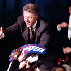Democratic presidential hopeful Bill Clinton greets supporters on election night in Merrimack on February 18, 1992. (Photo Credit: AP Photo/Ron Frehm) (Photo courtesy of the New Hampshire Institute of Politics & Political Library at Saint Anselm College)