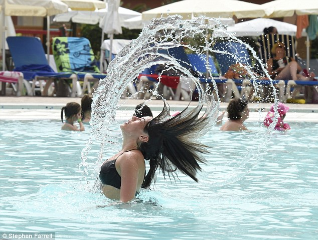 Making a splash: At one point, Stephanie whipped her long dark hair back and forth