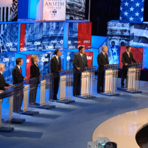 Democrats debated at the CNN debate on the campus of Saint Anselm College on June 3, 2007. (Photo courtesy of the New Hampshire Institute of Politics & Political Library at Saint Anselm College/Gil Talbot)