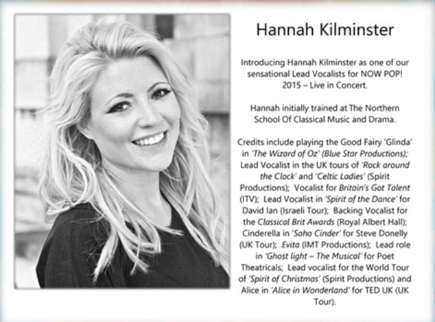 An online CV posted on talent website Star Now says Ms Kilminster performed on Britain's Got Talent