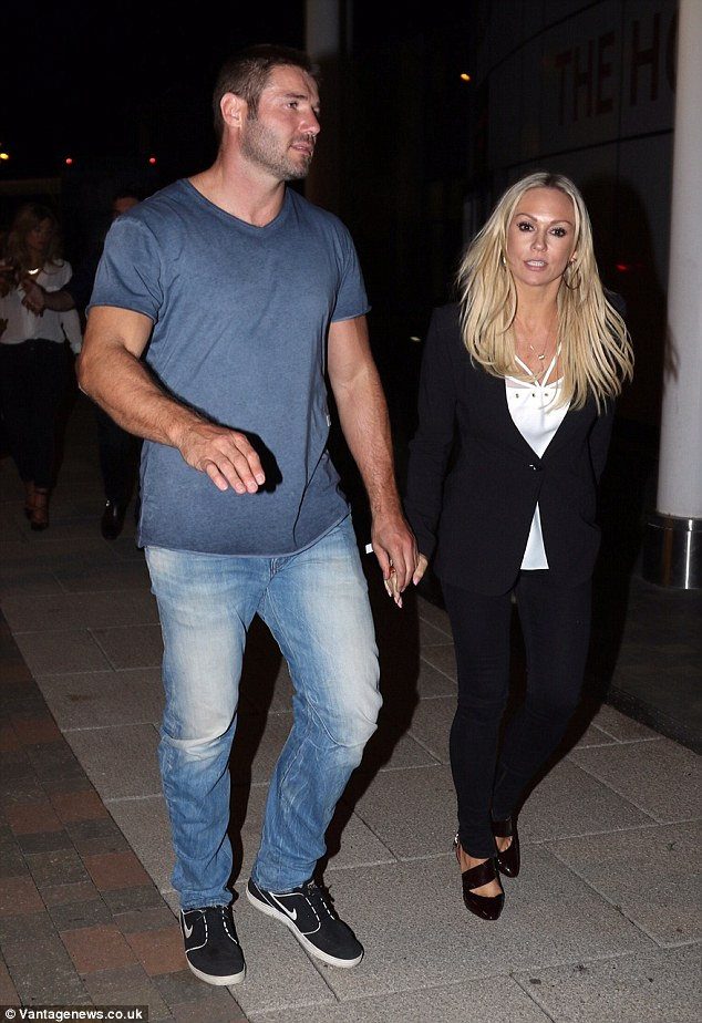 Casual vibes: Kristina, 37, opted for a chic blazer and skinny jeans with heels, while Ben, 36, was far more laid-back in jeans, a t-shirt and trainers