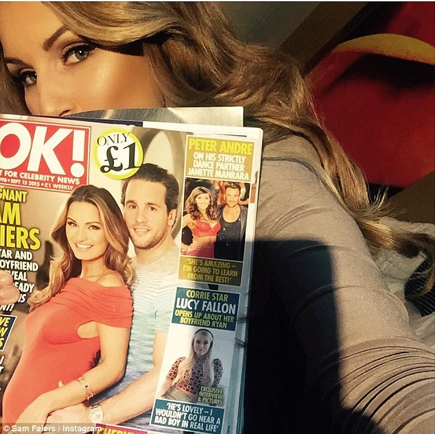 Check it out: The Essex-born beauty also shared a photo of her OK! Magazine cover, which sees her and boyfriend Paul Knightley discuss their pending parenthood