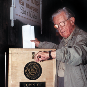 Neil Tillotson cast the first vote in every presidential primary for 40 years. (Photo courtesy of the New Hampshire Institute of Politics & Political Library at Saint Anselm College)