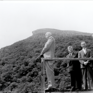 President Dwight Eisenhower visits the Old Man of the Mountain on June 24, 1955. (Photo courtesy of the New Hampshire Institute of Politics & Political Library at Saint Anselm College)
