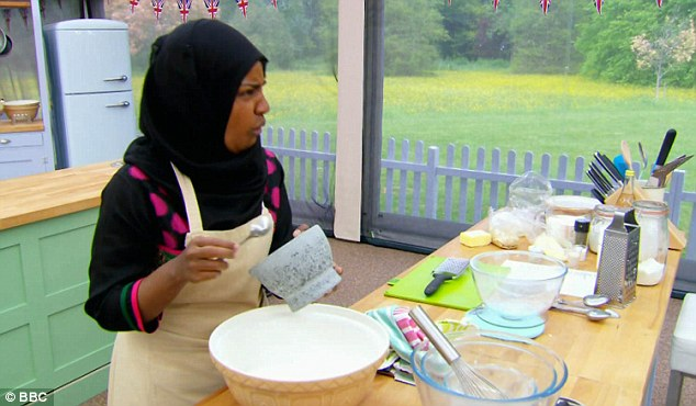 Impressive: Nadiya's impressed more in the Signature challenge flavouring her frangipane tart with 'Bengali bay leaf infused with rong tea and arrowroot
