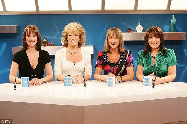 The former Loose Women presenter, pictured with her fellow panelists, left the ITV show in 2013 - and kept her diagnosis a secret at first