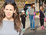 Brentwood, CA - Jennifer Garner rushed out of the shower without drying her hair just in time to pick up her daughters, Violet Affleck and Seraphina Rose Elizabeth Affleck from school. The supermom was smiling and laughing with her kids as they walked down the street back home.\nAKM-GSI       January 29, 2016\nTo License These Photos, Please Contact :\nSteve Ginsburg\n(310) 505-8447\n(323) 423-9397\nsteve@akmgsi.com\nsales@akmgsi.com\nor\nMaria Buda\n(917) 242-1505\nmbuda@akmgsi.com\nginsburgspalyinc@gmail.com