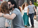 **PREMIUM EXCLUSIVE RATES APPLY** Game of Thrones stars Kit Harington & Rose Leslie pack on the PDA during a shopping spree in Los Angeles. The co-stars, who played Jon Snow and Ygritte in the hit HBO series, showed every sign that their romance is back on as they walked hand in hand and cosied up to look at Kit's phone. Kit and Rose went for an hour-long lunch at Cafe Gratitude before heading to The Grove shopping centre for two hours.\n