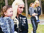 Sherman Oaks, CA - Gwen Stefani took her boys out to basketball practice at the local gym with her family in the morning. The singer spent time with her family and played with her youngest child, Apollo Bowie Flynn Rossdale in the park. She snapped a few photos of her adorable sun before saying goodbye to her parents. The Voice judge was wearing a pair of leather joggers, ripped top, Moschino crop jacket, sunglasses, and a pair of all white Doc Martens. She didn't take her boyfriend, Blake Shelton on their family day out just yet.\nAKM-GSI       January 30, 2016\nTo License These Photos, Please Contact :\nSteve Ginsburg\n(310) 505-8447\n(323) 423-9397\nsteve@akmgsi.com\nsales@akmgsi.com\nor\nMaria Buda\n(917) 242-1505\nmbuda@akmgsi.com\nginsburgspalyinc@gmail.com