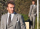 EXCLUSIVE: David Beckham is seen posing during a fashion shoot in a grey suit and holding an Adidas holdall in Oxfordshire, UK.