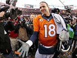 DENVER, CO - JANUARY 24:  Peyton Manning #18 of the Denver Broncos celebrates after defeating the New England Patriots in the AFC Championship game at Sports Authority Field at Mile High on January 24, 2016 in Denver, Colorado. The Broncos defeated the Patriots 20-18. (Photo by Doug Pensinger/Getty Images)