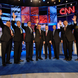 Republicans debated at the CNN debate on the campus of Saint Anselm College on June 5, 2007. (Photo courtesy of Saint Anselm College/Gil Talbot)