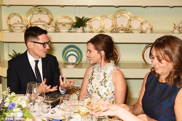 Fashionable turnout: Erdem Moralioglu, chatted with Game Of Thrones star Emilia Clarke and Alexandra Shulman over dinner