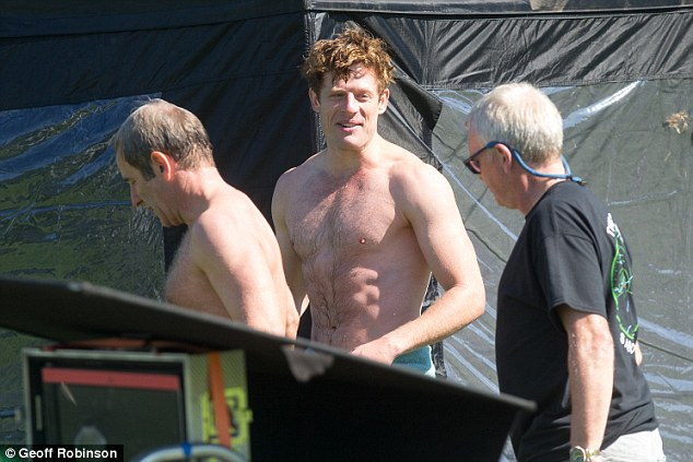 Fit: Heart-throb James Norton was spotted in his swimming today as he swam in a river in scenes reminiscent of Mr Darcy's famous lake scene in the BBC's Pride and Prejudice