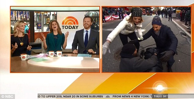 Winter's here: Today show hosts Savannah Guthrie and Matt Lauer had to be kept warm by heaters off camera as they prepared for the Thanksgiving parade