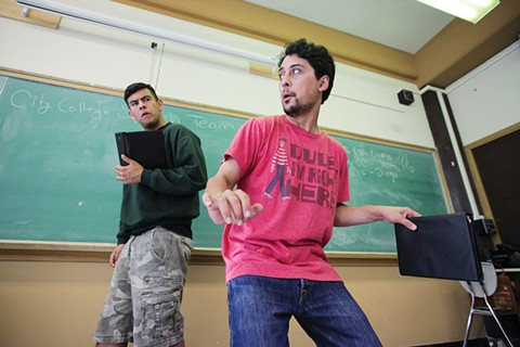 Diego Perez and Zachary Herrera rehearse a piece that was presented during a national tournament in Portland, Ore. The pair provided their take on last year's immigration protests in Southern California. - GABRIELLE LURIE/SPECIAL TO THE S.F. EXAMINER