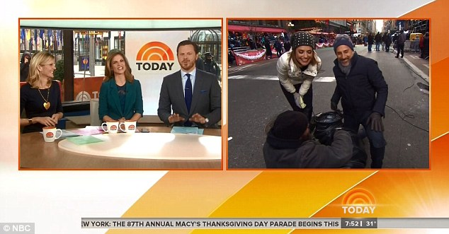 But we're warm! Natalie Morales, Willie Geist and Kate Snow are toasty in Studio 1A - while Matt Lauer and Savannah Guthrie freeze outside