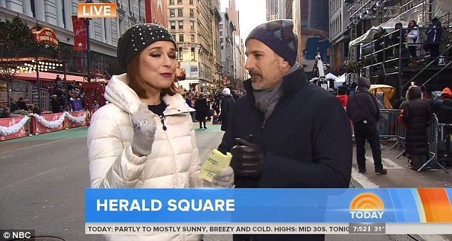 Tricks of the TV: Today show stars Matt Lauer and Savannah Guthrie got ready to host the parade - even though fans said Matt looked like a 'hobo' due to his 'Movember' beard