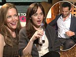 Watch Dakota Johnson and Leslie Mann Make a Reporter Unbutton His Shirt During an Interview