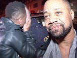 """EXCLUSIVE TO INF. \nFebruary 3, 2016: Cuba Gooding Jr. leaving the Up & Down night club in New York City, New York. He spoke candidly about his feelings towards celebrities boycotting the Oscars. When asked if he supported black artists boycotting the Oscars, Cuba responds """"No, why wouldn't I support an organization that has a black President? Why wouldn't I support an organization that has Chris Rock as the host?"""" Gooding was in good spirits as he hugged the NYPD and took countless selfies with fans.\nMandatory Credit: INFphoto.com Ref: infusny-290"""