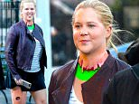New York, NY - Comedian Amy Schumer was spotted on set of her show 'Inside Amy Schumer.' The funny lady made silly faces at the cameras. Amy was in special effects makeup  that will make her head appear detached in post. The green tape acts as a green screen during the scene. She also has makeup up on her leg which mimics an open wound. \n  \nAKM-GSI        December 2, 2016\nTo License These Photos, Please Contact :\nSteve Ginsburg\n(310) 505-8447\n(323) 423-9397\nsteve@akmgsi.com\nsales@akmgsi.com\nor\nMaria Buda\n(917) 242-1505\nmbuda@akmgsi.com\nginsburgspalyinc@gmail.com