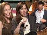Watch Dakota Johnson and Leslie Mann Make a Reporter Unbutton His Shirt During an Interview