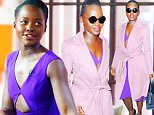 """New York, NY - Lupita Nyong'o is perfect in purple and pink leaving the """"Today"""" show smiling for her fans as she walks to her car.\nAKM-GSI          February 3, 2016\nTo License These Photos, Please Contact :\nSteve Ginsburg\n(310) 505-8447\n(323) 423-9397\nsteve@akmgsi.com\nsales@akmgsi.com\nor\nMaria Buda\n(917) 242-1505\nmbuda@akmgsi.com\nginsburgspalyinc@gmail.com"""