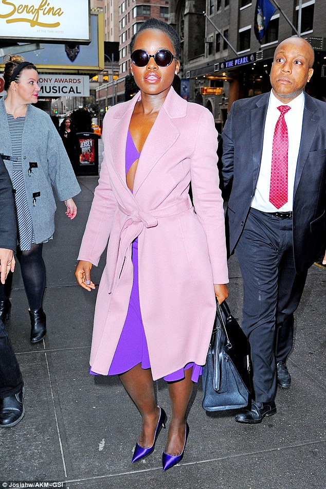 The color purple:Lupita Nyong'o took her sartorial magic to the streets of New York as she headed to the Today Show on Wednesday