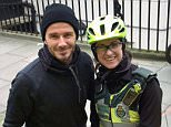 """Handout photo taken from the Twitter account of @Ldn_Ambulance of David Beckham with Senior Paramedic Catherine Maynard, he treated the paramedic and her elderly patient to a hot cup of tea and coffee when he spotted them in the cold waiting for an ambulance. PRESS ASSOCIATION Photo. Picture date: Monday February 1, 2016. Ms Maynard, who works with London Ambulance Service's Cycle Response Unit, said: """"I was waiting with my patient for an ambulance to transfer him to hospital and although I was keeping him warm it was very cold outside. """"All of a sudden, I looked up and saw someone who looked like David Beckham walking past us. He said hello and got in his car. I said to the man I was treating, 'I think that was David Beckham'. Ten minutes later, he came back with a cup of coffee for me and a tea for the patient. See PA story ACCIDENT Beckham. Photo credit should read: @Ldn_Ambulance/PA Wire NOTE TO EDITORS: This handout photo may only be used in for editorial reporting purposes for t"""