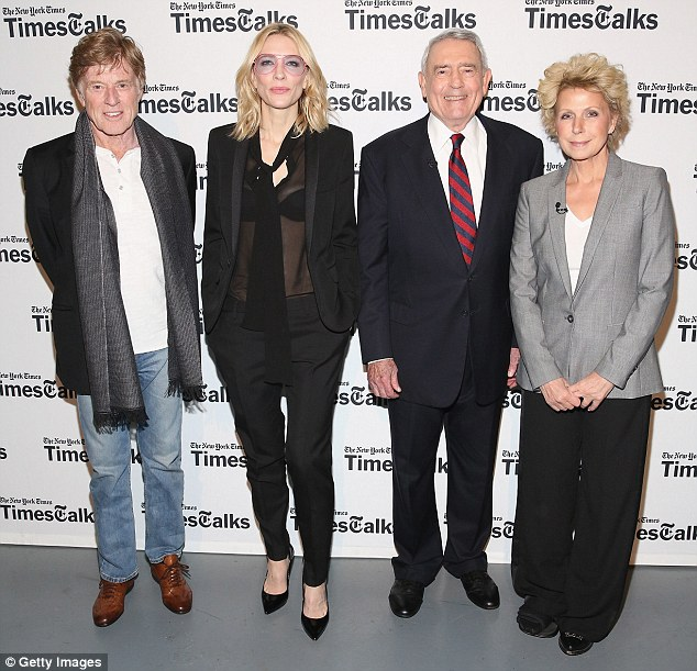Controversial: Truth stars Robert Redford and Cate Blanchett, left, play former 60 Minutes journalists Dan Rather and Mary Mapes, both right, in the new drama