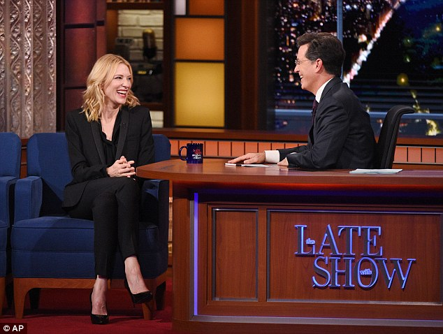 Happy: The actress chatted with comedian Stephen Colbert at the Ed Sullivan Theater in New York