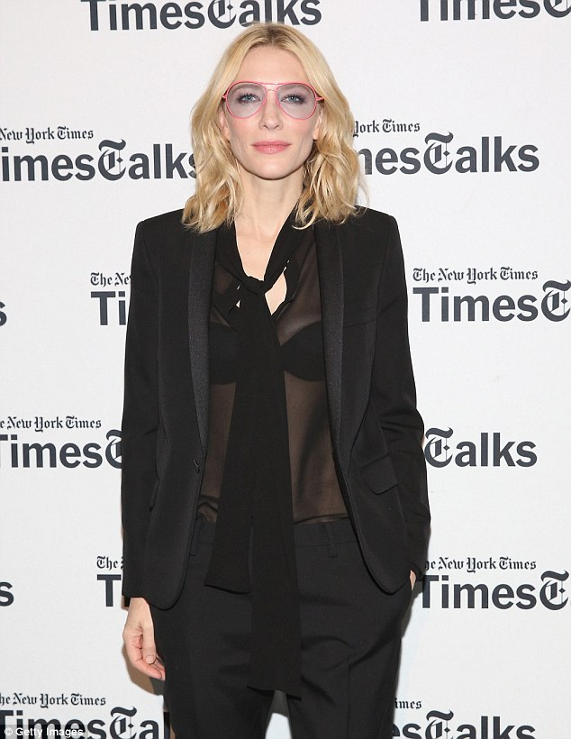 Earlier: The actress struck a casual pose with one hand in her pocket as she appeared at a TimesTalks event about the film