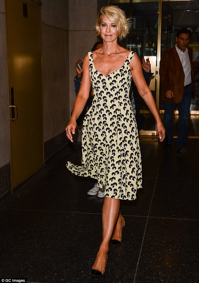 Cute look: The actress heads off after taping The Today Show at Rockfeller Center on Thursday