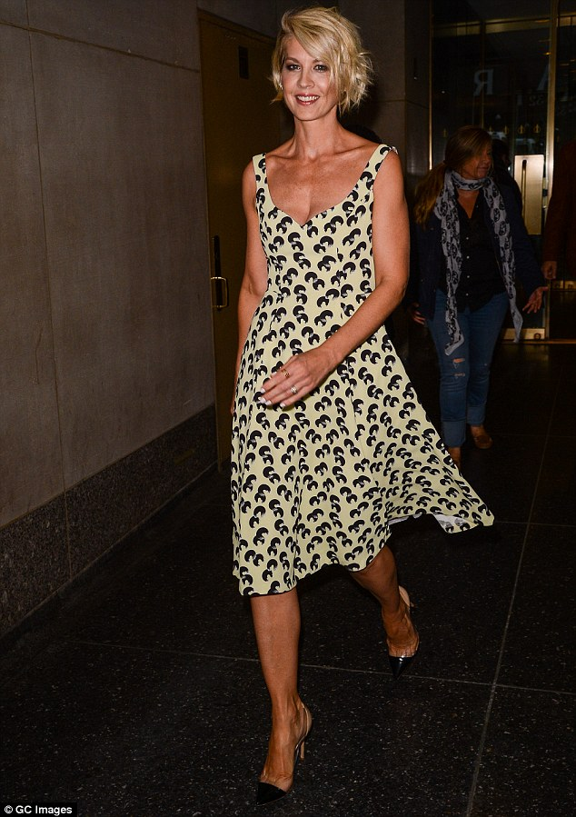 Sunny look: The actress wore a light yellow dress with black pattern as she stopped by The Today Show earlier in the day