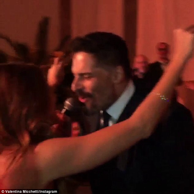 Happy: Sofia wedding festivities included getting serenaded by her fiance, Joe Manganiello during a pre-wedding party on Saturday