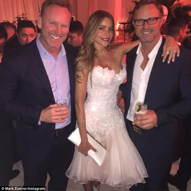 A vision in white: Sofia wore a Mark Zunino designed dress featuring a sweetheart neckline and flouncy bottom, hitting her at her knees