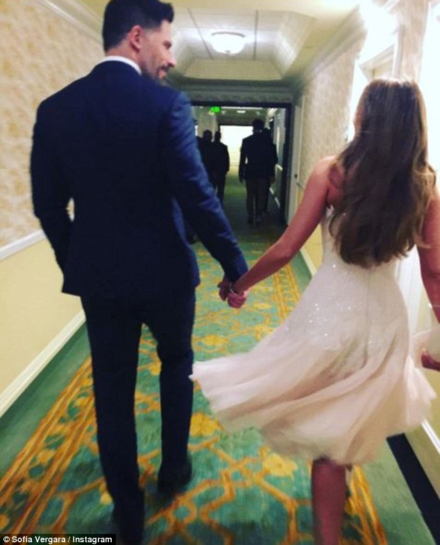 'Goodnight!!': Sofia and Joe after their pre-wedding party in her Mark Zunino frock