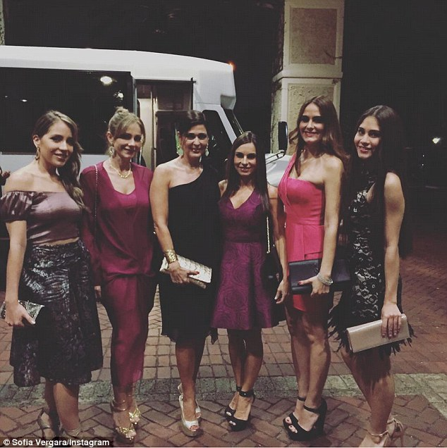 Stylish evening: The Hot Pursuit star added a group shot of her family outside the hotel, posing in their fancy frocks