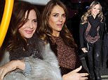 3 Feb 2016  - London  - UK *** EXCLUSIVE ALL ROUND PICTURES *** Elizabeth Hurley enjoys girls dinner at the Bulgari hotel in Knightsbridge with Trinny Woodall! BYLINE MUST READ : XPOSUREPHOTOS.COM ***UK CLIENTS - PICTURES CONTAINING CHILDREN PLEASE PIXELATE FACE PRIOR TO PUBLICATION *** **UK CLIENTS MUST CALL PRIOR TO TV OR ONLINE USAGE PLEASE TELEPHONE  442083442007