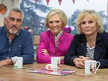 WARNING: Embargoed for publication until 00:00:01 on 26/01/2016 - Programme Name: The Great Sport Relief Bake Off 2016 - TX: 03/02/2016 - Episode: n/a (No. 2) - Picture Shows: **EMBARGOED FOR PUBLICATION UNTIL 00:01 HRS ON TUESDAY 26TH JANUARY 2016** Paul Hollywood, Mary Berry, Jennifer Saunders - (C) Love Productions - Photographer: Lucille Flood